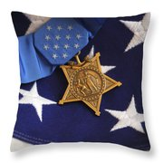 The Medal Of Honor Rests On A Flag Throw Pillow