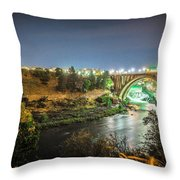 The Monroe Street Dam And Bridge At Night, In Spokane, Washingto Throw Pillow