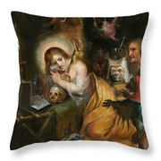 The Penitent Mary Magdalene Visited By The Seven Deadly Sins Throw Pillow