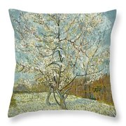 The Pink Peach Tree Throw Pillow