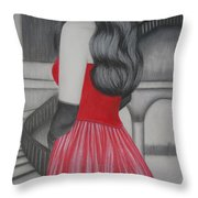 The Red Dress Throw Pillow
