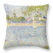 The Seine Seen From La Grande Jatte Throw Pillow