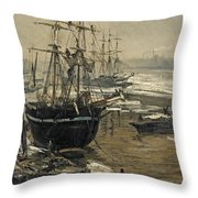 The Thames In Ice Throw Pillow
