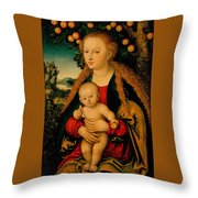 The Virgin And Child Under An Apple Tree Throw Pillow