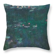 The Water Lilies, Green Reflections Throw Pillow