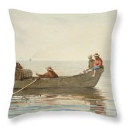 Three Boys In A Dory With Lobster Pots  Throw Pillow