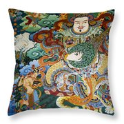 Tibetan Buddhist Mural Throw Pillow