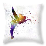 Tinkerbell In Watercolor Throw Pillow