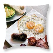 Traditional English British Fried Breakfast With Eggs Bacon And  Throw Pillow