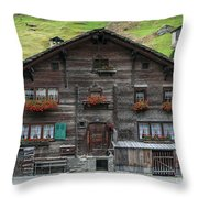 Traditional Swiss Alps Houses In Vals Village Alpine Switzerland Throw Pillow