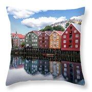 Trondheim Coastal View Throw Pillow