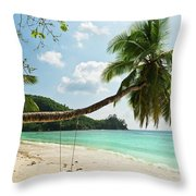 Tropical Beach At Mahe Island Seychelles Throw Pillow