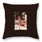 Two Classical Maidens And A Swan Henry Ryland Throw Pillow