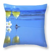 Two Glasses Of White Wine Throw Pillow by MotHaiBaPhoto Prints