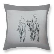 Two Horse Throw Pillow