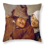 Two Peasants With A Glass Of Wine Throw Pillow