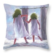 Two Sisters Jumping On The Bed  Throw Pillow