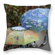 2 Umbrellas On Motorcycle  Throw Pillow