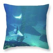 Underwater Blue Background Throw Pillow