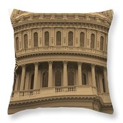 United States Capitol Building Sepia Throw Pillow