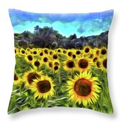Van Gogh Sunflowers Throw Pillow