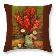 Vase With Red Gladioli  Throw Pillow