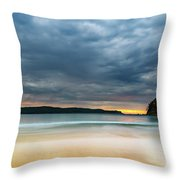 Vibrant Cloudy Sunrise Seascape Throw Pillow