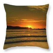 Vibrant Orange Sunrise Seascape Throw Pillow