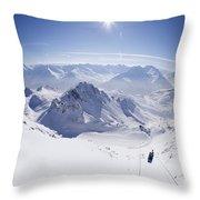 View From Summit Of Valluga, St Saint Anton Am Arlberg Austria Throw Pillow