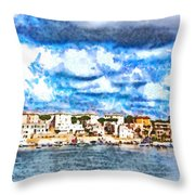 View Of Brindisi From The Ship Throw Pillow