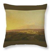 View Of Catania Throw Pillow