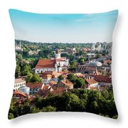 view of downtown in Vilnius city, Lithuanian Throw Pillow