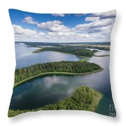 View Of Small Islands On The Lake In Masuria And Podlasie  Throw Pillow