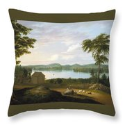 View Of Springfield On The Connecticut River Throw Pillow