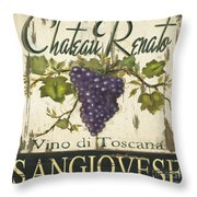 Vineyard Red Wine Sign Throw Pillow