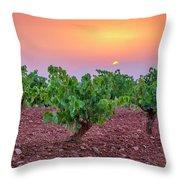 Vineyards At Pink Sunset Throw Pillow