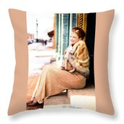 Vintage Val Winter Glam Throw Pillow