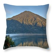 Volcano And Reflection Lake Atitlan Guatemala Throw Pillow