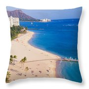 Waikiki Beach And Diamond Head Throw Pillow