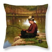 Waiting For A Bite, Central Park Throw Pillow