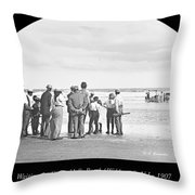 Waiting For Fish Holly Beach Now Wildwood New Jersey 1907 Throw Pillow