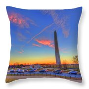 Washington Monument Sunset Throw Pillow