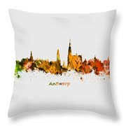 Watercolor Art Print Of The Skyline Of Antwerp In Belgium Throw Pillow