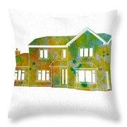 Watercolor House Throw Pillow