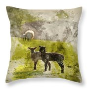 Watercolor Painting Of Beauitful Landscape Image Of Newborn Spri Throw Pillow