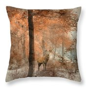 Watercolour Painting Of Beautiful Image Of Red Deer Stag In Fogg Throw Pillow