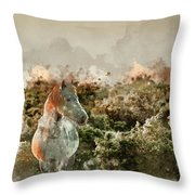 Watercolour Painting Of Beauttiful Close Up Of New Forest Pony H Throw Pillow