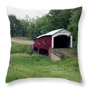 West Union Covered Bridge, Indiana Throw Pillow