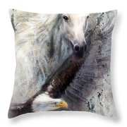 White Horse With A Flying Eagle Beautiful Painting Illustration Throw Pillow