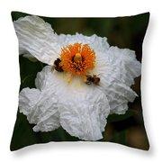 White Poppy And Bee Throw Pillow